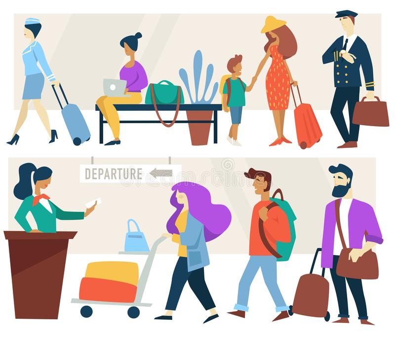 Airport waiting room and check-in counter passengers air hostess and pilote royalty free illustration