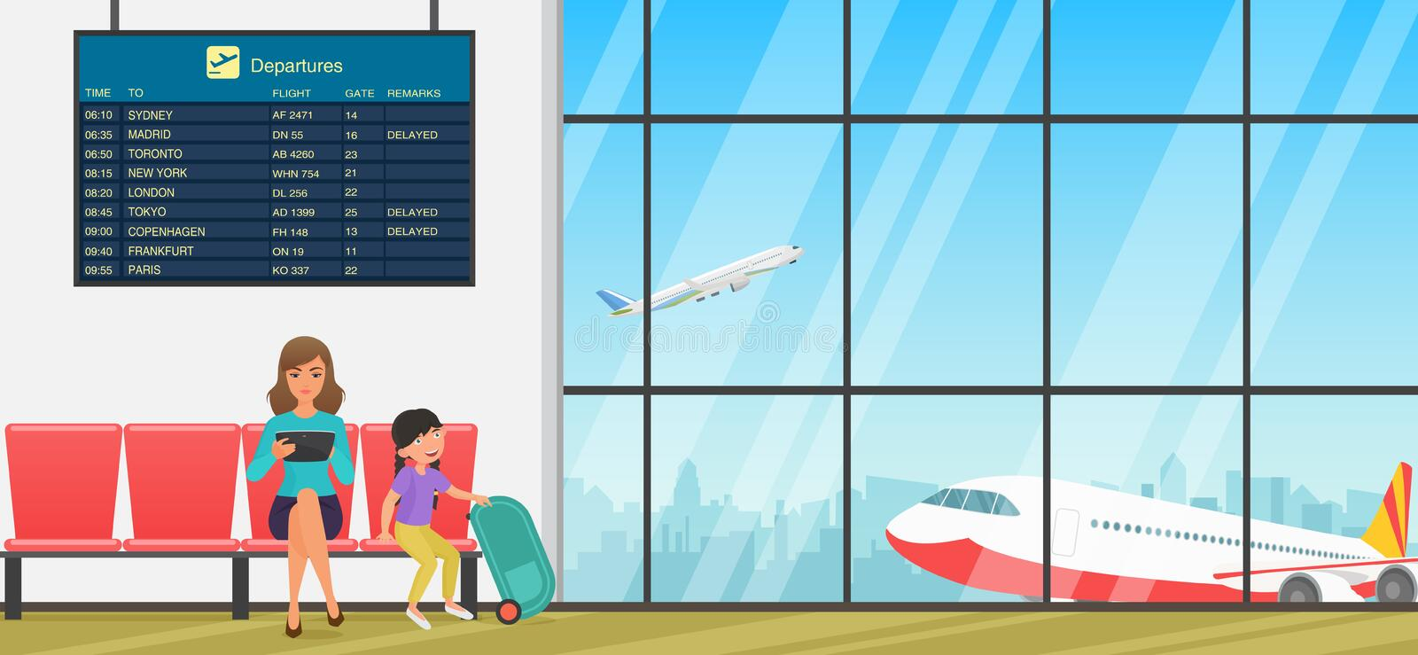 Airport waiting room. Departure lounge with chairs, information panels and people. Terminal hall with airplanes view. Airport waiting room or departure lounge vector illustration