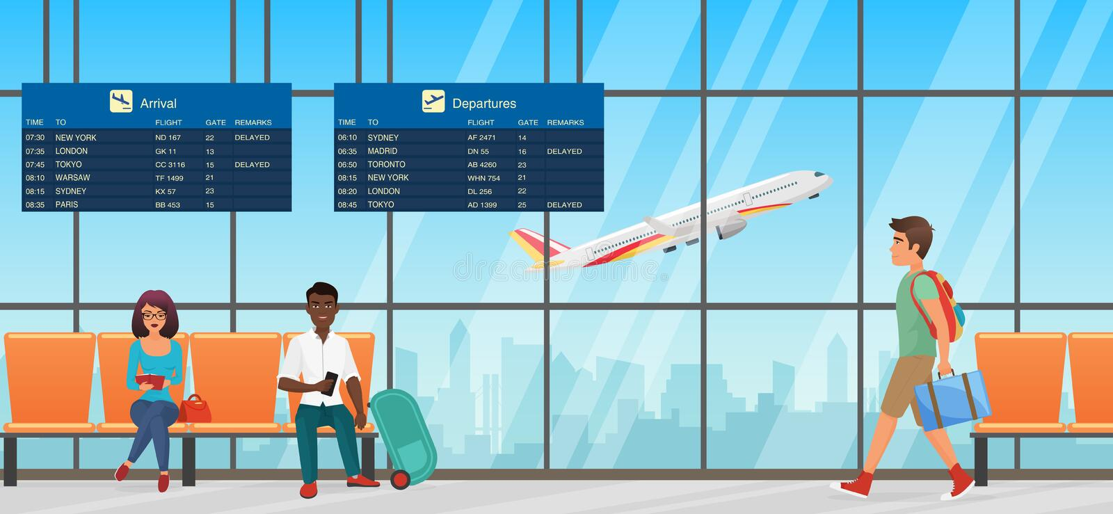 Airport waiting room. Departure lounge with chairs, information panels and people. Terminal hall with airplanes view. Airport waiting room. Departure lounge vector illustration