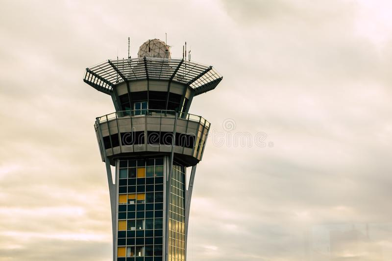 Paris Orly Sud Airport watch tower with clouds royalty free stock photos