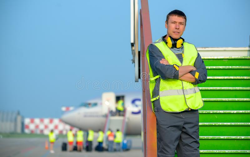 Airport worker man male maintenance aircraft airplane royalty free stock images