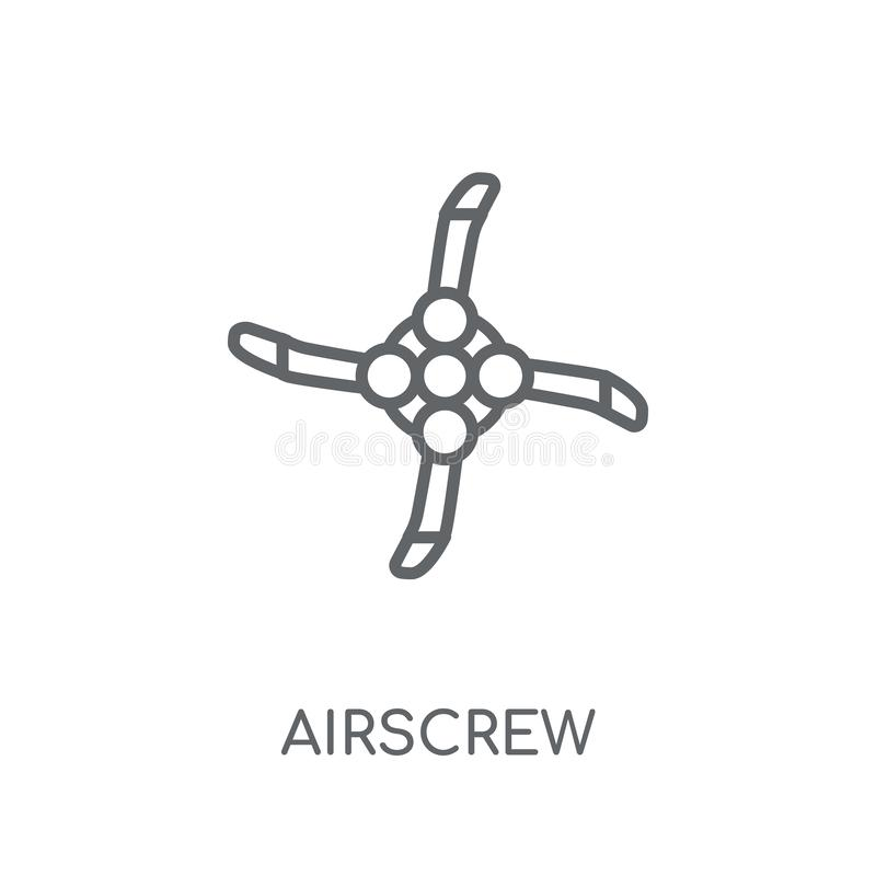 Airscrew linear icon. Modern outline Airscrew logo concept on wh. Ite background from ASTRONOMY collection. Suitable for use on web apps, mobile apps and print vector illustration