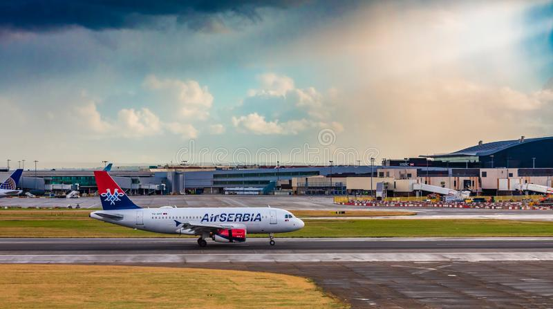 AirSerbia at Heathrow royalty free stock photography