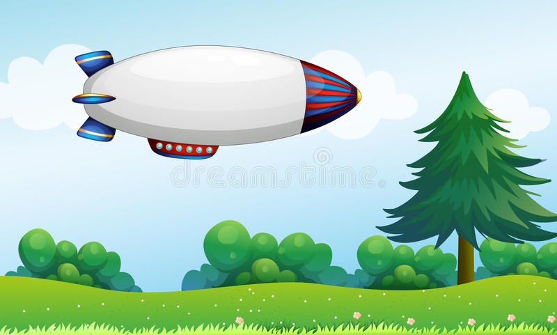 An airship above the hills stock illustration
