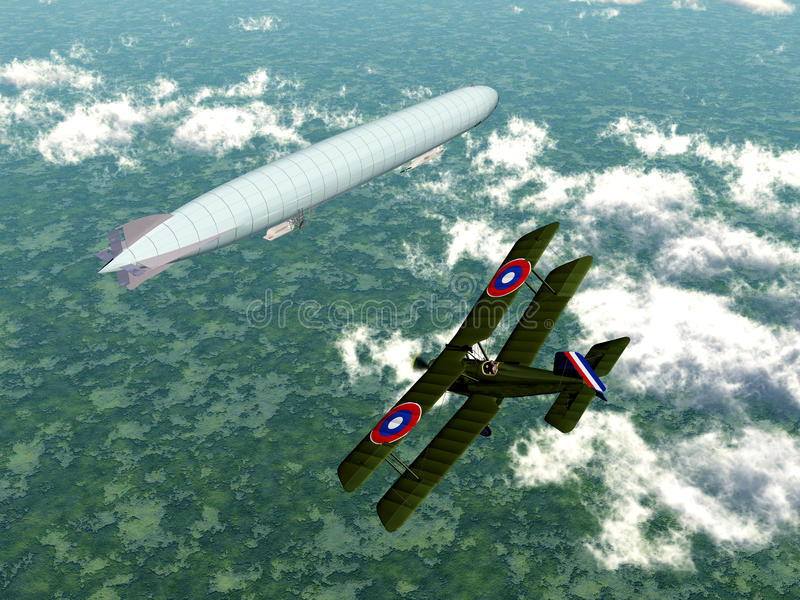Airship and Biplane. Computer generated 3D illustration with a German Airship and a Biplane of the Allied from the first world war royalty free illustration