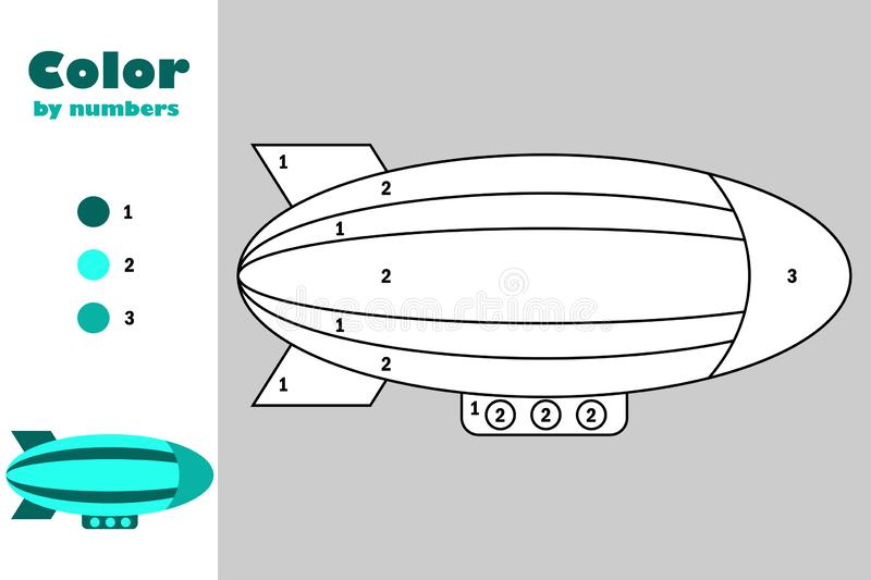 Airship in cartoon style, color by number, education paper game for the development of children, coloring page, kids preschool stock illustration