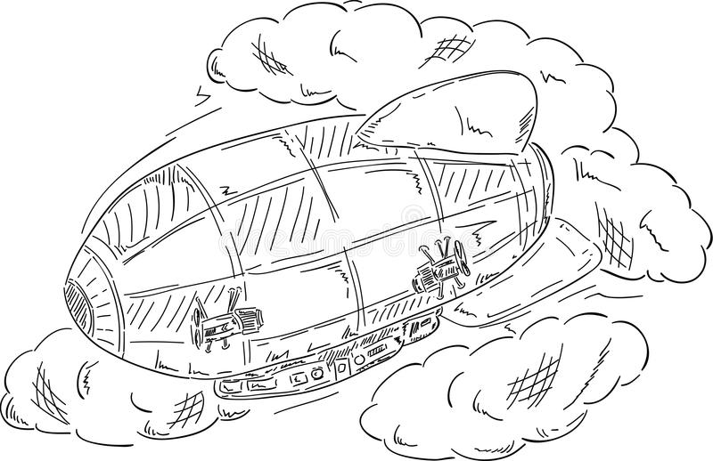 Airship at clouds stock illustration