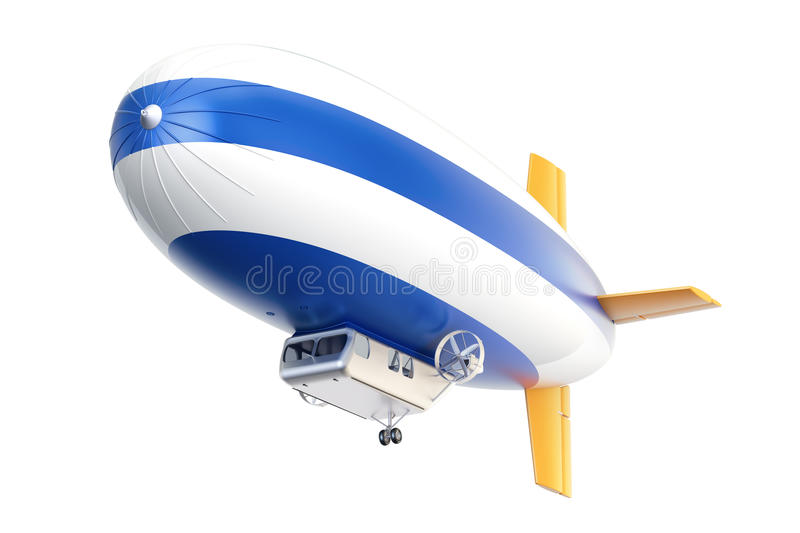 Airship or dirigible balloon, 3D rendering royalty free illustration