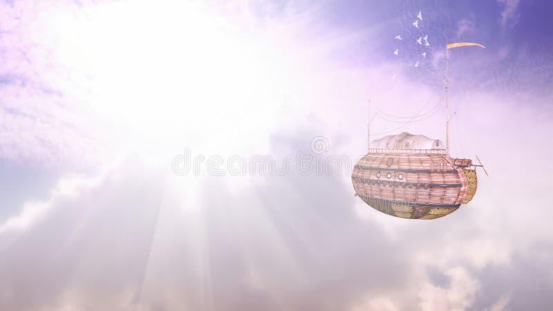 Airship Flight Fantasy Illustration stock image