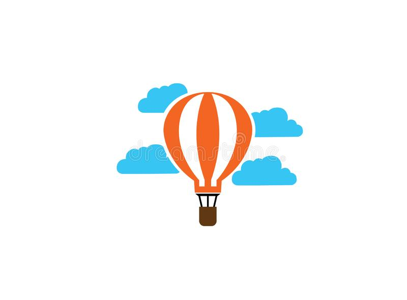 Airship flying balloon in clouds for logo. Airship flying balloon in the sky with clouds for logo esign illustration vector illustration