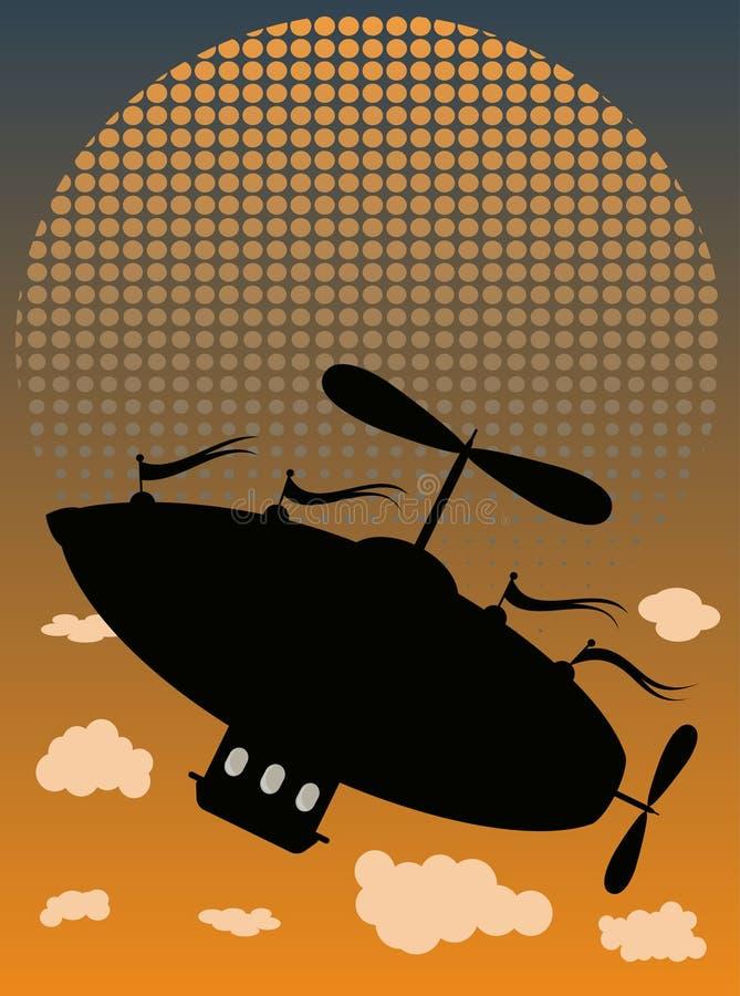 airshipflygraster förbi silhouettesunen upp vektor illustrationer