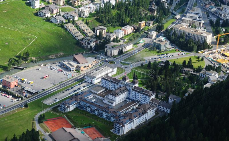 Airshot from the Kempinski des Baigns Hotel in St. Moritz. Swiss Alps: Airshot from the luxury Kempinski des Baigns Hotel in St. Moritz stock images