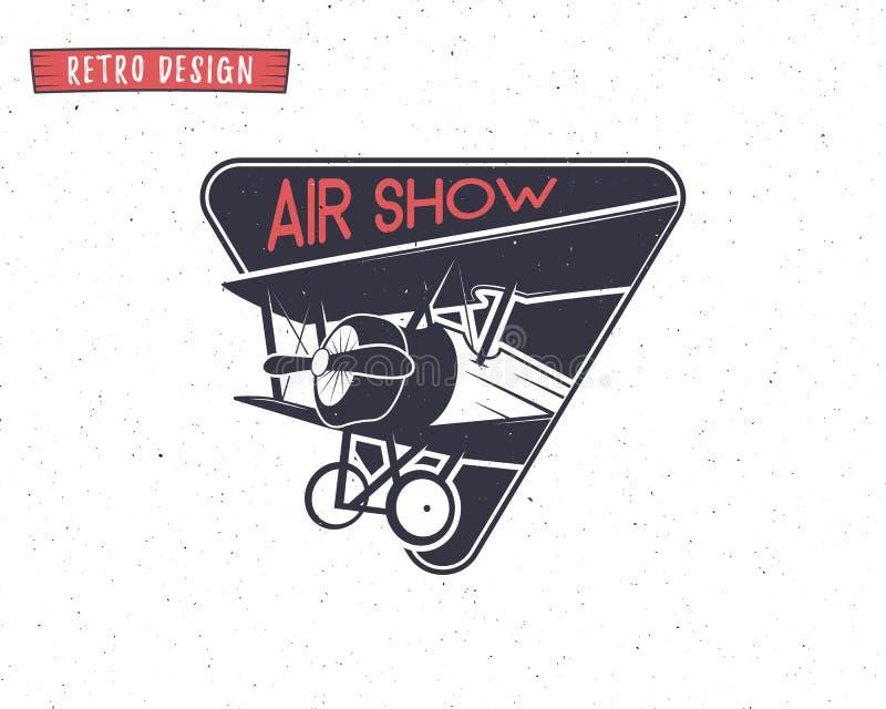 Airshow象征 双翼飞机标签 减速火箭的飞机徽章,设计元素 T恤杉的葡萄酒印刷品 航空邮票 向量例证