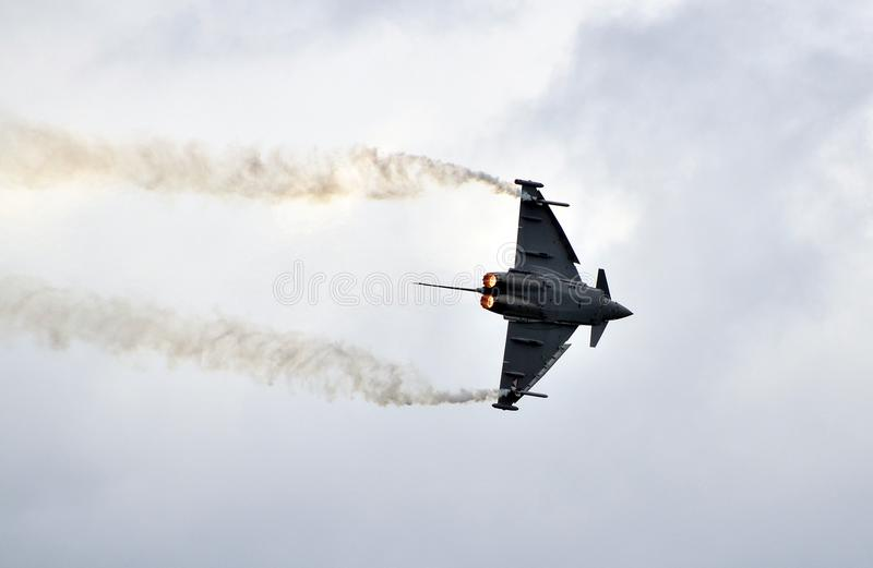 Airshow, Airpower 11. Zeltweg, Austria - July 1st 2011: display with Typhoon aka Eurofighter jet of the Austrian airforce by public airshow - airpower11 stock image