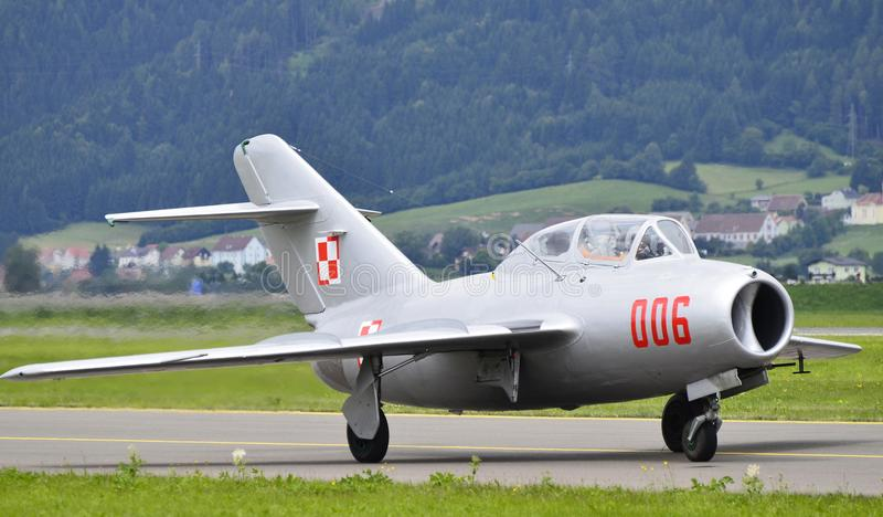 Airshow, Airpower 11. Zeltweg, Austria - July 1st 2011: vintage aircraft MIG 15 fighter jet of the Polish airforce by airshow - airpower11 stock images