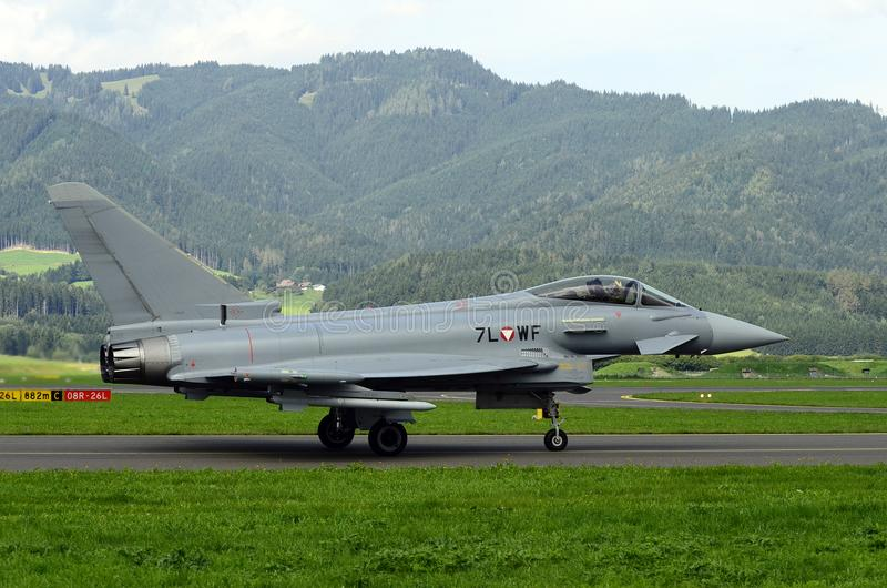 Airshow, Airpower 16,. Zeltweg, Styria, Austria - September 02, 2016: Eurofighter Typhoon from Austrian air force by public airshow named airpower 16 stock images
