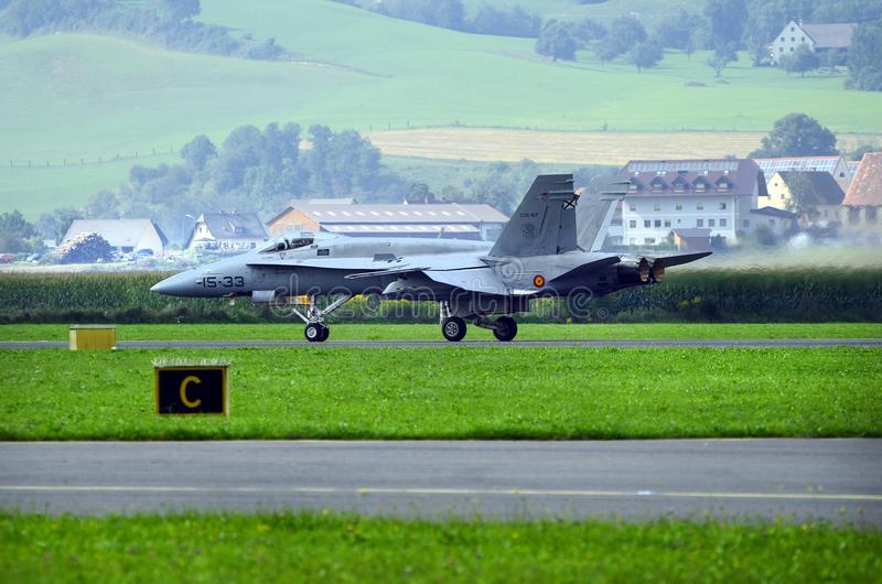Airshow, Airpower 16,. Zeltweg, Styria, Austria - September 02, 2016: F-A 18 Hornet from Spanish airforce by public airshow named airpower 16 royalty free stock image