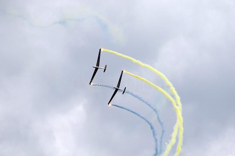 Airshow, Airpower 16,. Zeltweg, Styria, Austria - September 02, 2016: Formation flight with LET L-13 Blanik gliders by public airshow named airpower 16 royalty free stock photo