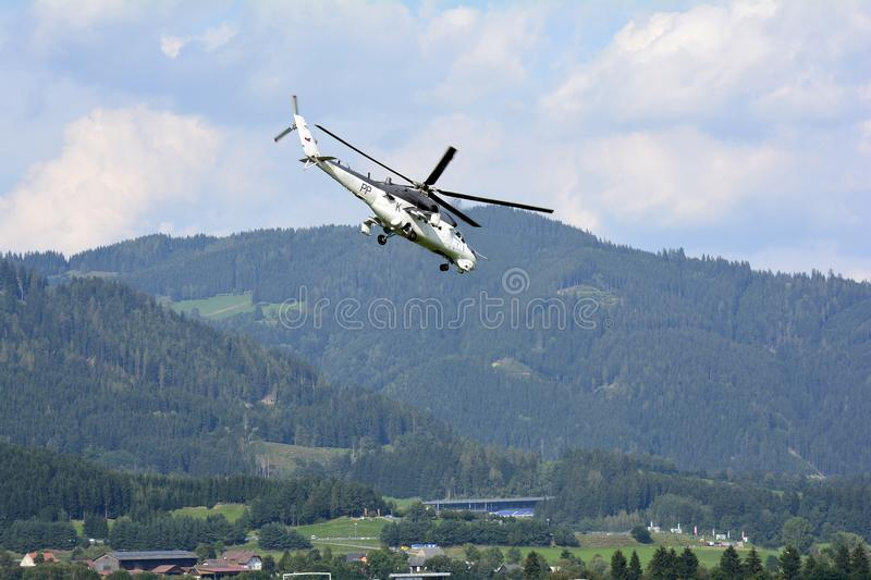 Airshow, Airpower 16,. Zeltweg, Styria, Austria - September 02, 2016: Helicopter of Czech Republic - Air Force Mil Mi-24V by public airshow named airpower 16 royalty free stock images