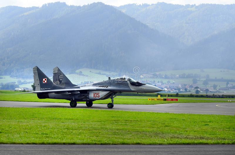 Airshow, Airpower 16,. Zeltweg, Styria, Austria - September 02, 2016: MiG 29 Fulcrum by public airshow named airpower 16 stock images
