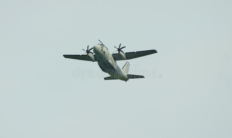 Airshow, Airpower 16,. Zeltweg, Styria, Austria - September 02, 2016: Military transporter Spart an C27J of Italian Air Force by public airshow named airpower 16 royalty free stock photography