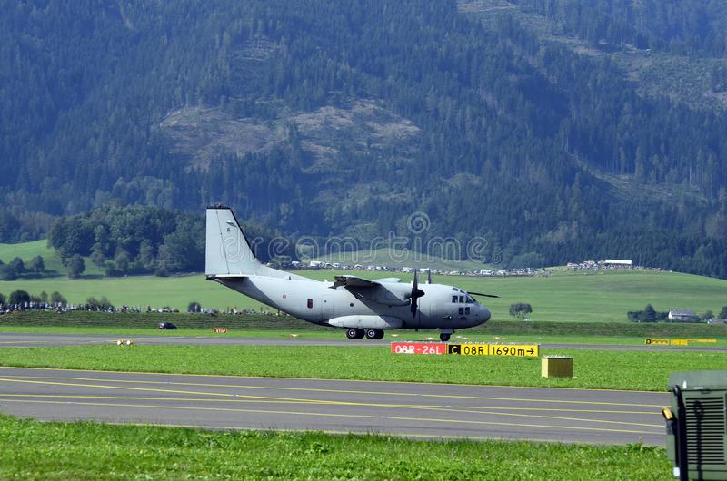 Airshow, Airpower 16,. Zeltweg, Styria, Austria - September 02, 2016: Military transporter Spart an C27J of Italian Air Force by public airshow named airpower 16 royalty free stock image