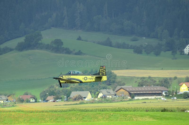 Airshow, Airpower 16,. Zeltweg, Styria, Austria - September 02, 2016: North American T-28B Trojan by public airshow named airpower 16 stock photos