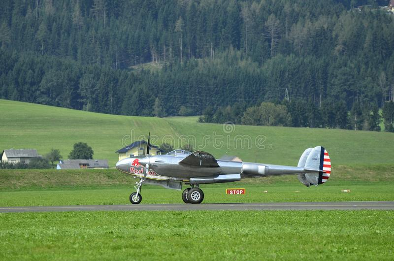 Airshow, Airpower 16,. Zeltweg, Styria, Austria - September 02, 2016: Vintage aircraft Lockheed P38 Lightning from WWII by public airshow named airpower 16 stock photography