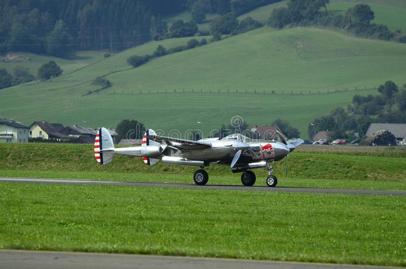 Airshow, Airpower 16,. Zeltweg, Styria, Austria - September 02, 2016: Vintage aircraft Lockheed P38 Lightning from WWII by public airshow named airpower 16 stock image