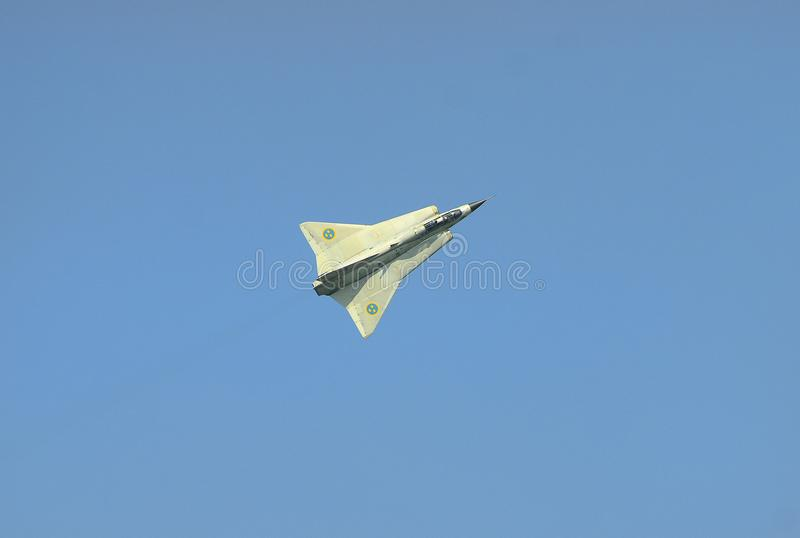 Airshow, Airpower 16,. Zeltweg, Styria, Austria - September 02, 2016: Vintage fighter aircraft Saab 35 Draken by public airshow named airpower 16 royalty free stock photography