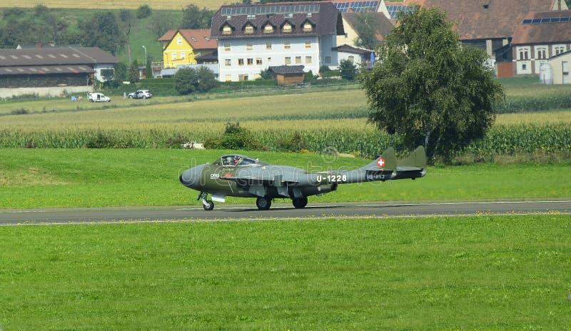 Airshow, Airpower 16,. Zeltweg, Styria, Austria - September 02, 2016: Vintage jet airplane De Havilland Vampire by public airshow named airpower 16 stock photography