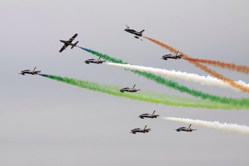 Airshow d'Itailan dans le ciel néerlandais images libres de droits