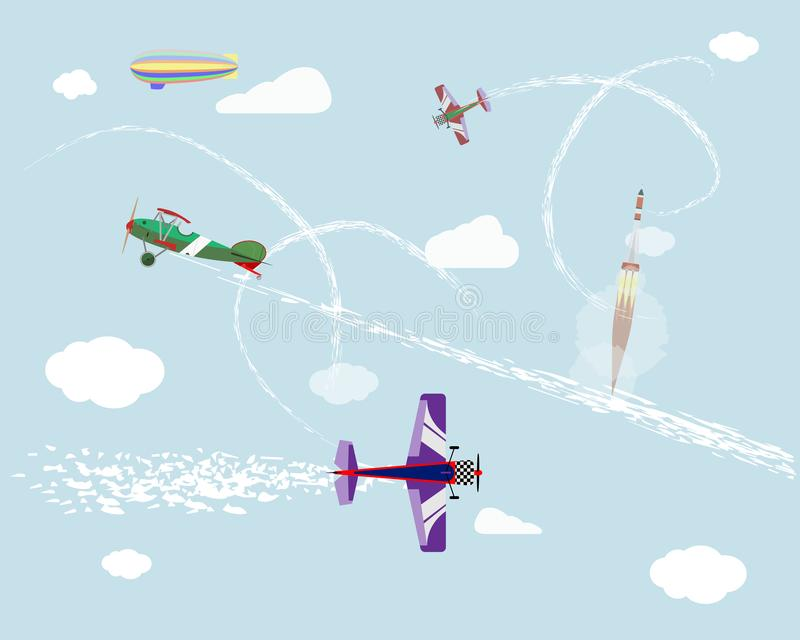 Airshow. Flight of airplanes and airship in the sky. Rocket launch. Vector graphics. royalty free illustration