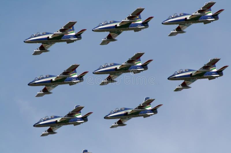 airshow frecce小组tricolori 库存照片