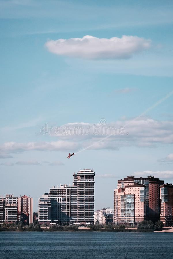 Airshow red bull city event against the sky and new buildings stock photo