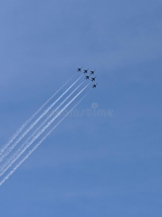 Airshow in the sky stock photo