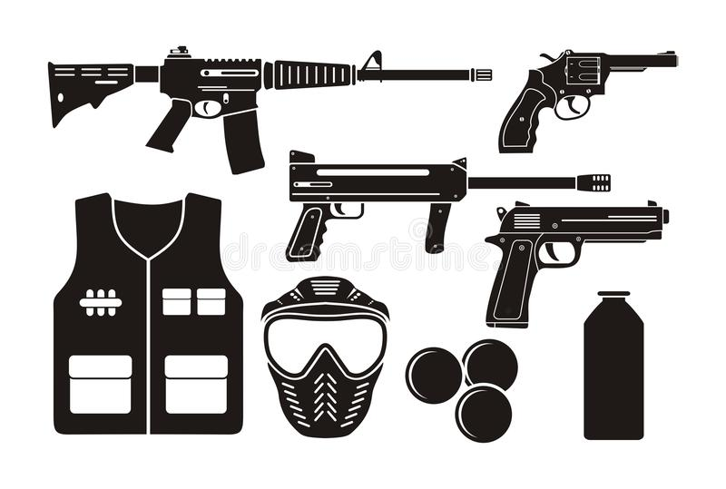 Airsoft pistoletu wyposażenie ilustracji