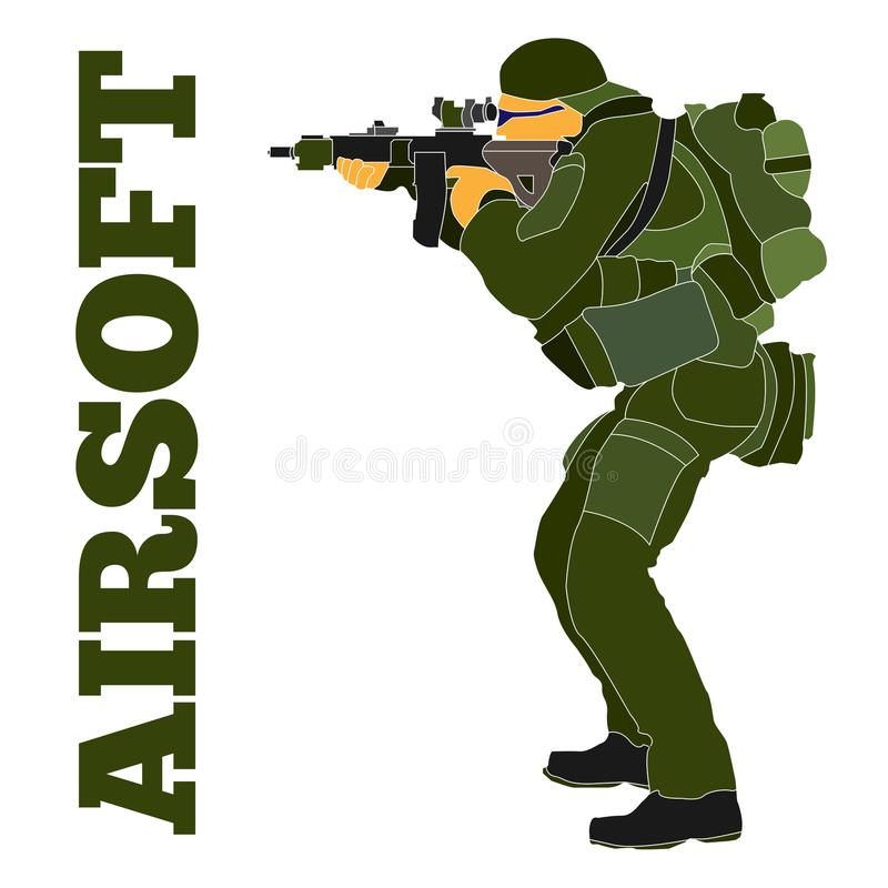Airsoft spelare i taktisk utrustning hand-dragen illustration royaltyfri illustrationer