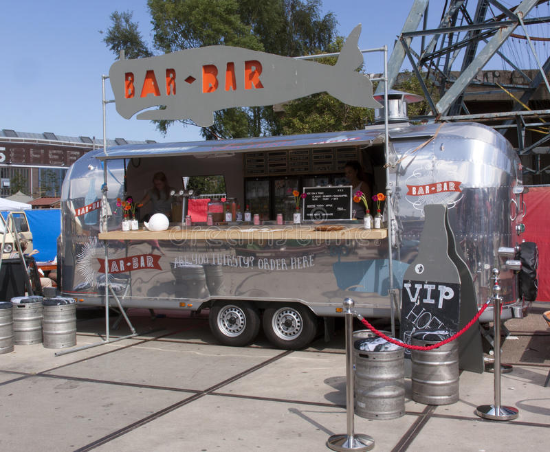Airstream caravan in use as a food truck in use as a bar for Bar 96 food truck