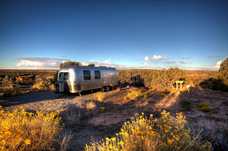 Airstream Camping Hovenweep National Monument Colorado and Utah. An Airstream Travel Trail camping in the famous ruins of Hovenweep National Monument on the royalty free stock images