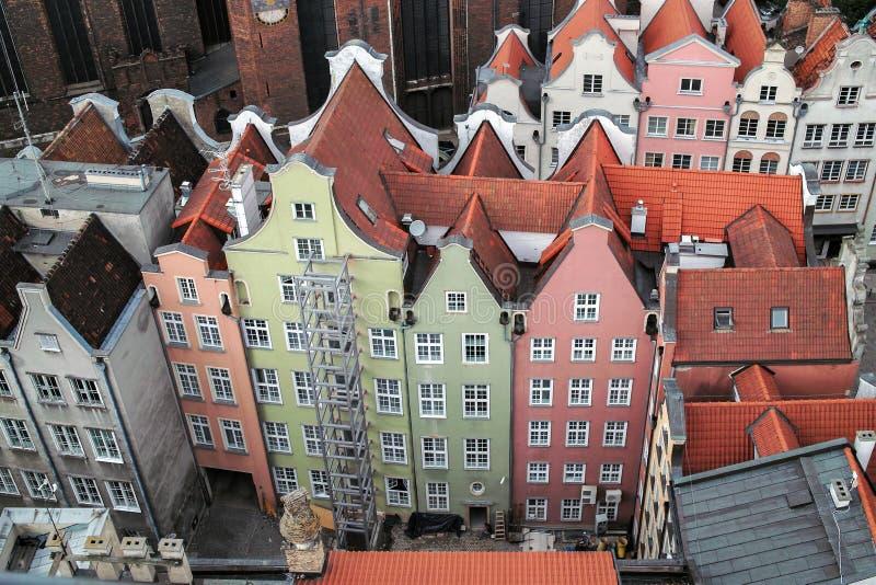 Airview of Old Town of Gdansk, Polen royaltyfri foto