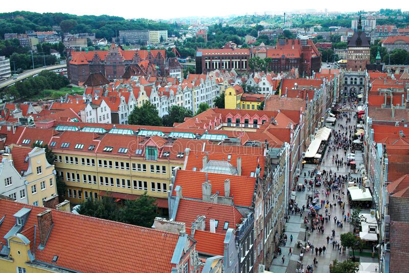 Airview of Old Town of Gdansk, Polen royaltyfria foton