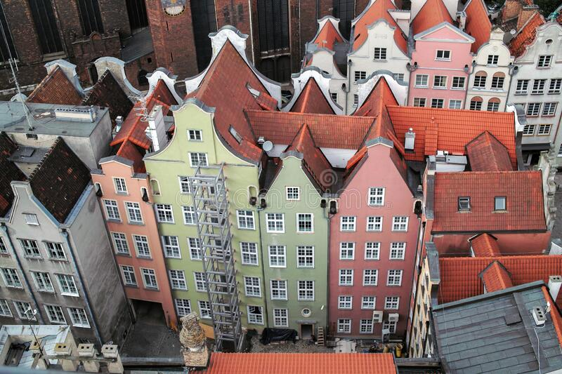 Airview of Old Town of Gdansk, Polen royalty-vrije stock foto