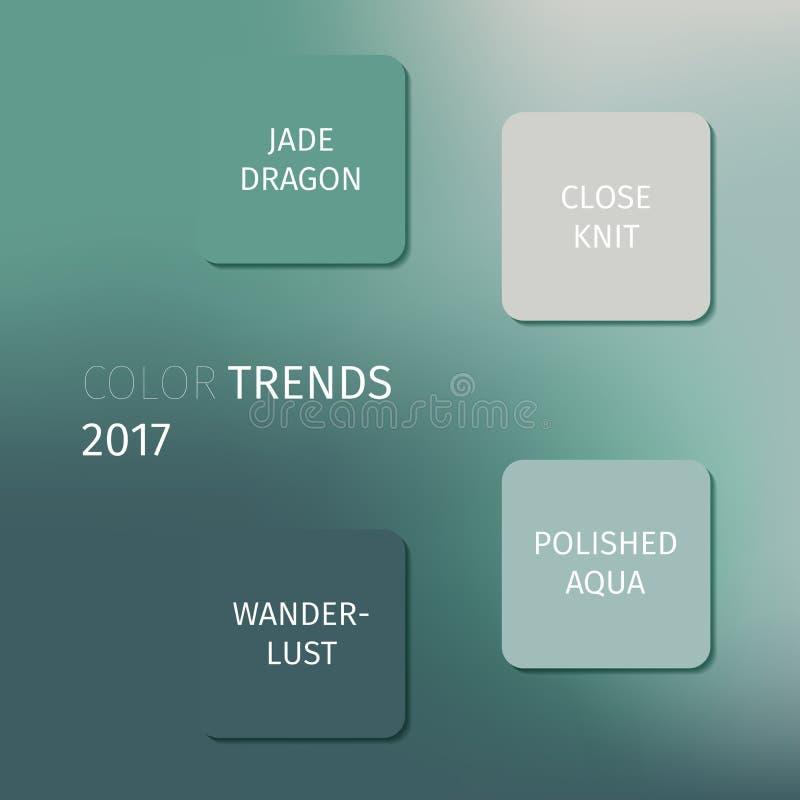 Airy Blue, Sharkskin, dragão do jade, estreitamente ligado, desejo por viajar, aqua lustrado - cores na moda da forma do ano 2017 ilustração stock
