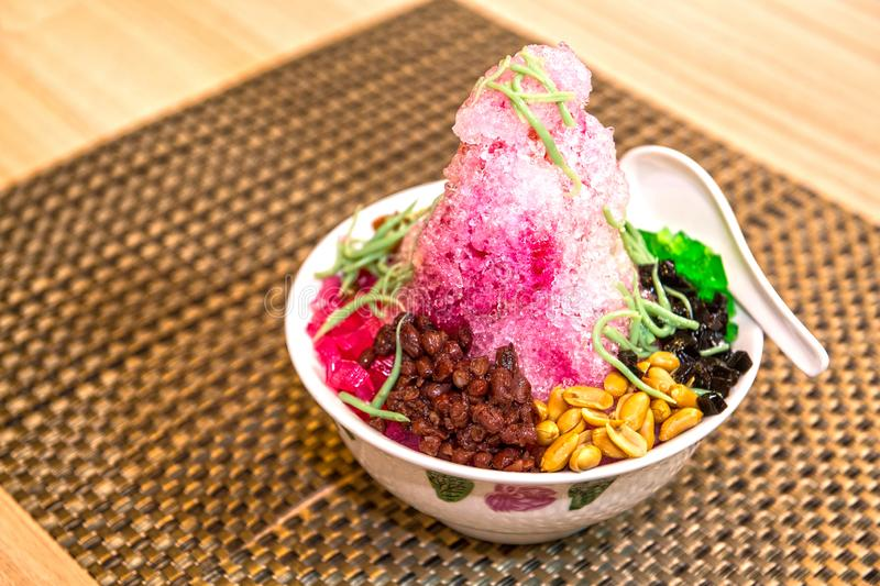 AIS KACANG SHAVED ICE. Shaved ice is very popular in Malaysia; called Ice Kacang in the state of Penang or simply ABC elsewhere in Malaysia, it`s a popular stock images