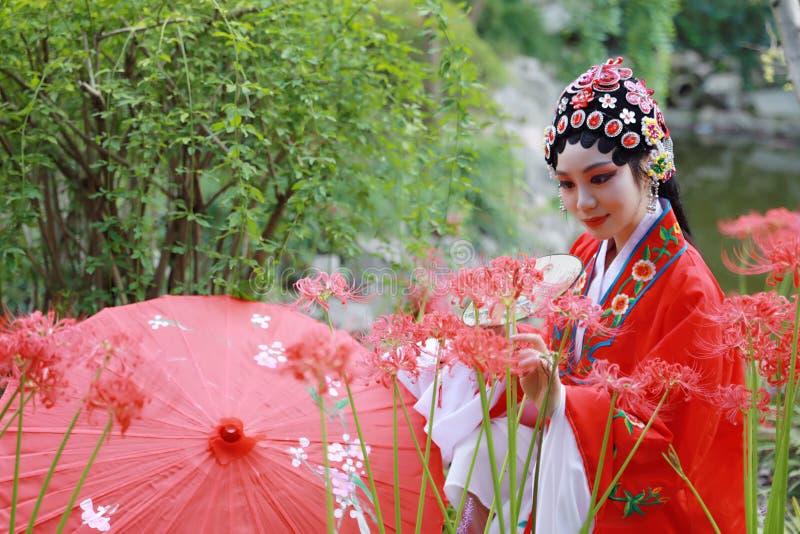 Aisa kobiety Peking Pekin opery kostiumów pawilonu Chińskiego ogródu dramata sztuki panny młodej chwyta czerwieni parasola Porcel obraz royalty free