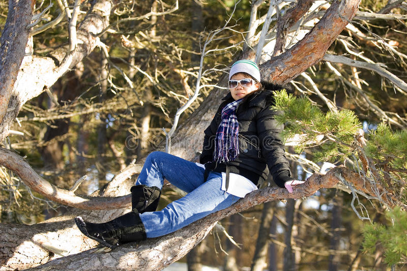 Aisan Girl And Tree Royalty Free Stock Images