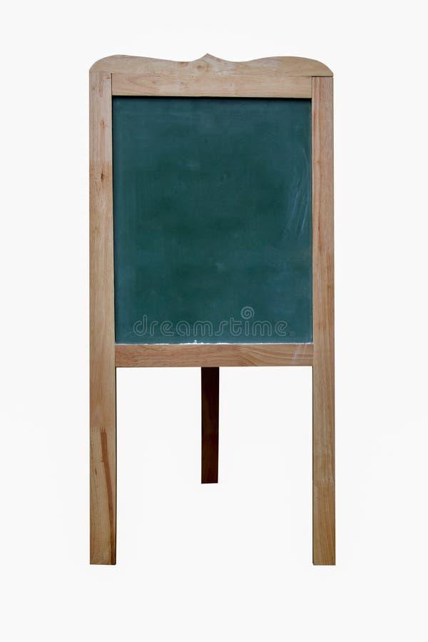 Aislado de soporte de madera de la pizarra del menú en el fondo blanco imagen de archivo libre de regalías