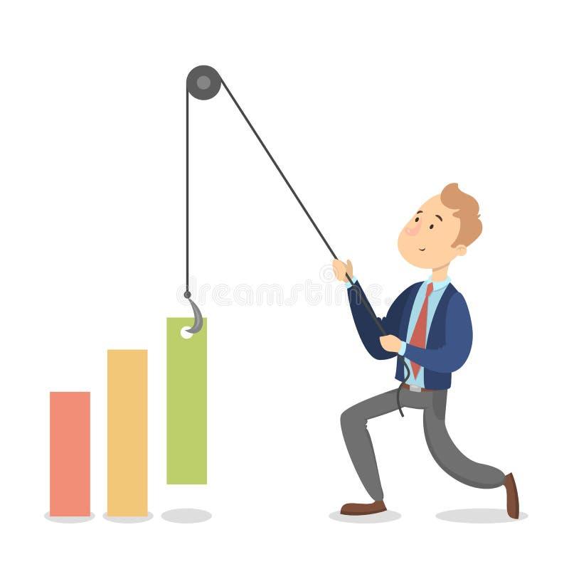 Aislado empujando al hombre de negocios stock de ilustración