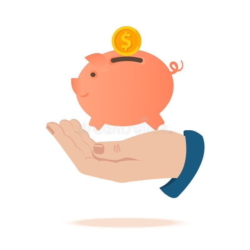 Aislado en blanco La mano sostiene una hucha del cerdo, las caídas de la moneda en una hucha del cerdo Ejemplo guarro rosado herm libre illustration
